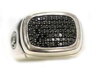 DAVID YURMAN NEW Mens Wide Pave Signet Black Diamond Ring Silver 10.25