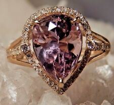 4.50 CT Pear Pink Kunzite & Diamond Ring 10K Yellow Gold