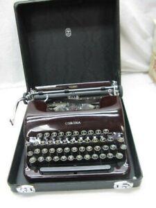 Antique 1930s SMITH & CORONA SILENT Typewriter w/ Case Maroon ~ BEAUTIFUL