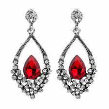 Antique Silver Red Crystal Rhinestone Peacock Feather Dangle Earrings Women Prom
