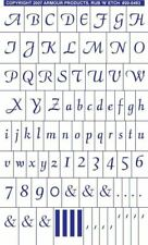 Rub 'n' Etch Glass Etching Stencil ~ Script Full Alphabet with numbers