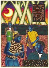 1997 New Orleans Jazz Festival Poster Post Card Neville Brothers
