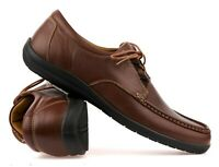 Mens Real Leather Casual Smart Formal Lace Up Walking Office Boat Work Shoes