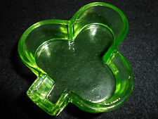 Green Vaseline Uranium glass club salt dip cellar casino dip poker card / euchre