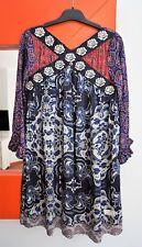 ODD MOLLY #756 Lovely Floral 3/4 Sleeve 100% SILK Short Tunic Dress size 1 (S)