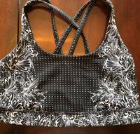 Lululemon Energy Bra infinity Alpine size 6 White Black run lace org58$