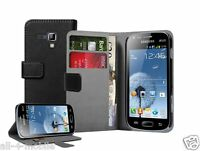 WALLET Black Leather flip pouch case cover for Samsung Galaxy S Duos GT-S7562