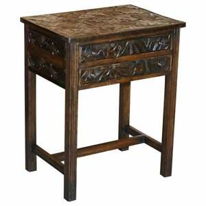 CIRCA 1905 LIBERTY'S LONDON JAPANESE HAND CARVED SIDE LAMP TABLE CUTLERY DRAWERS