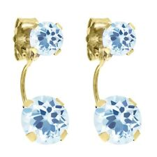 3.05 Ct Round Sky Blue Topaz 14K Yellow Gold Earrings