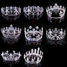 8 Styles Men's Imperial Medieval Fleur De Lis Silver King Full Round Crown Party