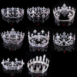 8 Styles Men's Imperial Medieval Fleur De Lis Silver King Full Round Crown Party