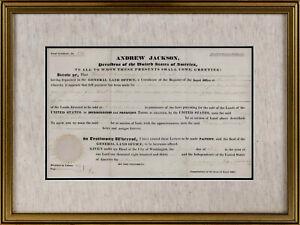 1831 PRESIDENT ANDREW JACKSON SIGNED DOCUMENT - VELLUM ALABAMA LAND GRANT