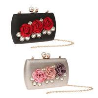 Women Crystal Flower Evening Clutch Purse Shoulder Handbag Bag with 2 Chains