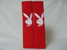 Hot Red Seat Belt Cover Shoulder Pad Pairs with Embroidery Playboy Rabbit Cute!!