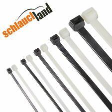 1-1000 Kabelbinder Nylon schwarz weiß 2,5/3,6/4,8/7,9/8,8/12,4mm ***10-150cm Set
