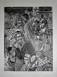 GREENGROCERS - FINE ORIG. WOOD ENGRAVING BY JAMES BOSTOCK - ARTIST'S PROOF 1960