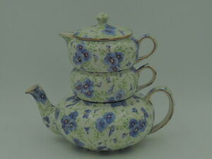 Beautiful Lord Nelson Chintz Pansy Stacking Stacked Teapot Tea For One