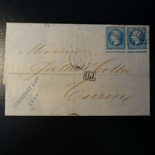 NAPOLÉON N°22 VARIETY QUILTING A HORSE ON LETTER COVER GC 2245 LYON -> TURIN