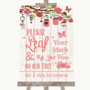 Wedding Sign Poster Print Coral Rustic Wood Fingerprint Tree Instructions