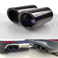 2 x Black Stainless Steel Rear Exhaust Tail Muffler Pipe 75mm - Audi A4 B8 Q5