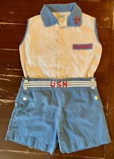 "Rare! Vintage ""Jack Tar Togs"" Cotton 1940's Blue /White Child's Shorts 2 pc set"