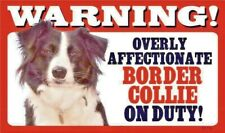 Warning Overly Affectionate Border Collie Dog Plastic Wall Sign