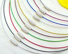 Halsreif Collier Edelstahl Seil 45cm Messing Schraubverschluß Halskette Farbwahl