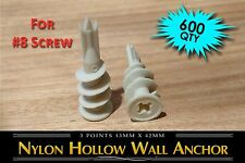 (600) Self-Drilling Nylon Hollow Wall Drywall EZ Anchor (Easy Drive) #8 Screw