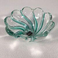 "Mikasa Glass Bowl Green Flower Petal 5.75"" X 3"" Germany Bright and Elegant"