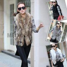 Hot Sale Real RACC00N Collar Trim Knitted Rabbit Black Fur Vest Waistcoat Gilet