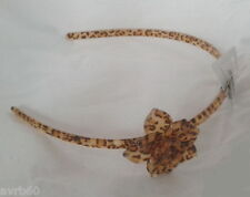 alice band animal print plastic hairband with flower brown new