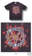 Slayer! Skeleton Pentagram Shield Black T-Shirt Small New Official