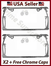 CHROME METAL TROPICAL PALM TREE SLIM CAR TRUCK 2 LICENSE PLATE FRAME TAG HOLDER