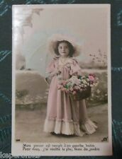VICTORIAN GIRL FLOWER BASKET & UMBRELLA-VINTAGE 1907 FRENCH REAL PHOTO POSTCARD