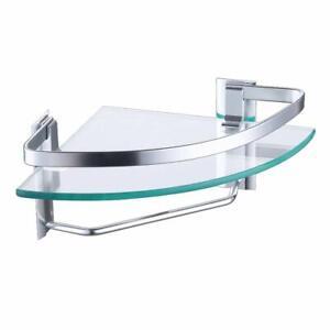 Modern Bathroom Glass Shelves Shower Corner Shelf Wall Mounted Towel Rack Mount