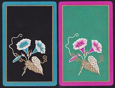 2 Single VINTAGE Swap/Playing Cards TRUMPET FLOWERS GOLD LEAVES STAMENS Pnk/Aqua