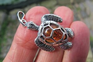 Amber Crystal Turtle Pendant Silver stamped 925 tree Fossil luck long life