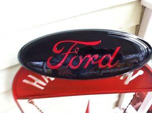 "13"" FORD-""BLACK & RED"" Grille Emblem,CUSTOM PAINT,2011-16 F-250-350,super duty!"