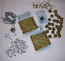 Small Gold/Silver Christmas Tree Decorations Tinsel, Ball & Sax Ornaments, Stars