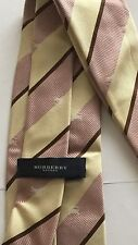 Burberry London Classic Pink Ivory Brown Striped Men's Tie Silk