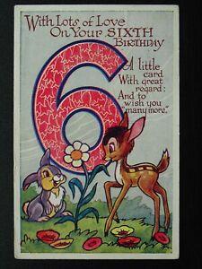 Walt Disney BAMBI & THUMPER 6th Birthday Greetings c1940's Postcard by Valentine