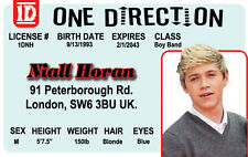 ONE DIRECTION NIALL HORAN Boy Band card London Enland UK Drivers License