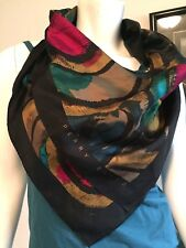 "PERRY ELLIS 31 x 31"" Multi-Color Geometric Print SCARF 1980'S"