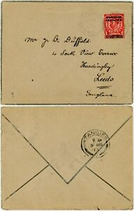 MOROCCO AGENCIES 1913 MOURNING ENV 10c on 1d DOWNEY CASABLANCA via TANGIER to GB