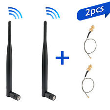 2x 6dBi 2.4GHz 5GHz Dual Band WiFi RP-SMA Antenna + 2 x U.fl IPEX Cable N8S5