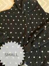 Lularoe Small Black White Polka Dot Teddy Bear Jacket New