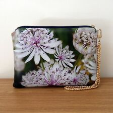 Clutch Bag Hand Wrist Strap Evening Faux Leather Travel Floral Flat Handmade