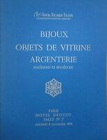 1974 CATALOGUE illustré VENTE DROUOT BIJOUX OBJETS DE VITRINE ARGENTERIE
