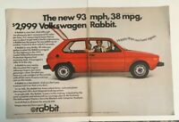 1975 Volkswagen VW Rabbit Print Ad $2,999 The New 93 Mph 38 Mpg Coupe 2 Page