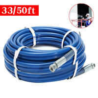"""33/50ft 1/4"""" Airless Paint Spray Hose Sprayer Light Flexible Fiber Tube 3300PSI"""
